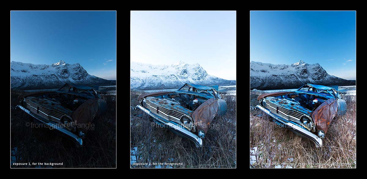 Old weathered Ford Cortina standing in the grass near Sommarøy, Norway